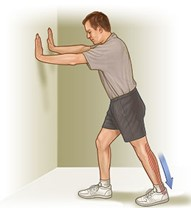 Man performing an Achilles stretch