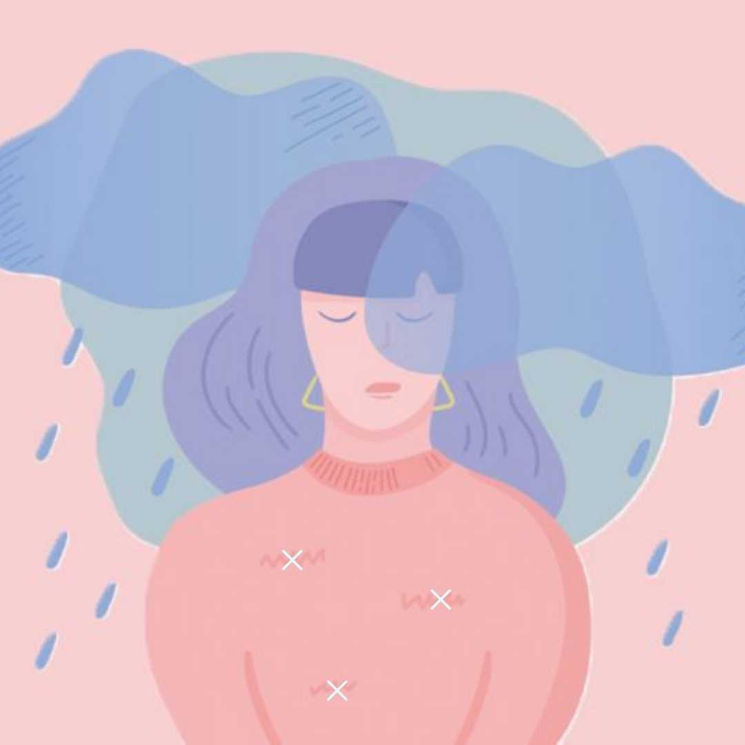 Graphic of sad girl standing in the rain
